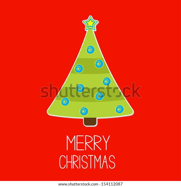 Christmas tree with blue Christmas balls. Merry Christmas card. Vector illustration.