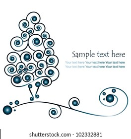 christmas tree with blue globes - vector illustration