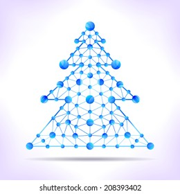 Christmas tree - blue molecule. Abstract illustration for card, invitation or other.