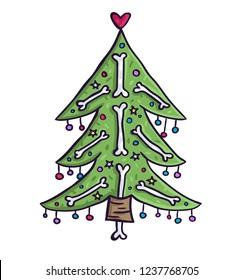 Christmas tree with bones. Creepy new year illustration. Hand draw death christmas.
