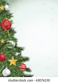 Christmas tree border design with yellow gold silver and red ornaments
