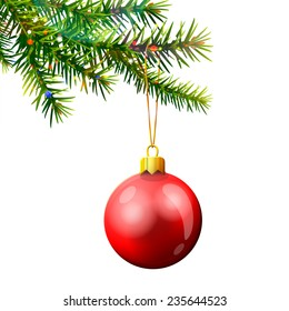 Christmas tree branch with bauble isolated on white. Red christmas ball hanging on pine twig. Vector illustration for christmas, new year's day, winter holiday, design, new year's eve, silvester, etc