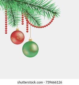 Christmas tree branch. Beads and beads. Vector illustration.