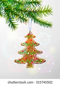 Christmas tree branch with decorative cookie. Gingerbread christmas tree hanging on pine twig. Vector illustration for christmas, new year's day, winter holiday, design, new year's eve, silvester, etc