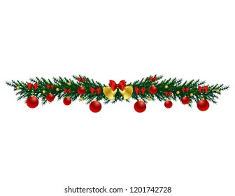 Christmas tree branch with toys