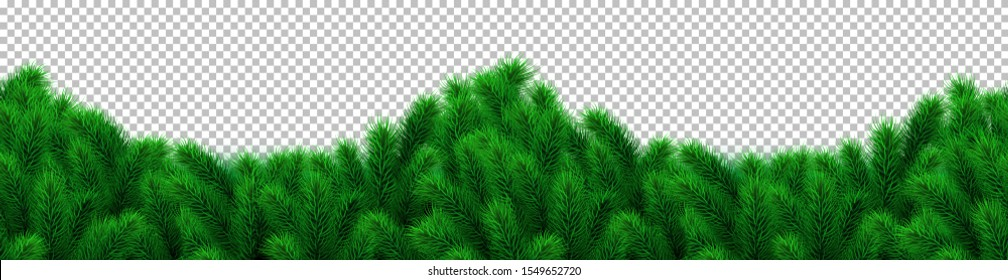 Christmas tree branches border, garland, arch shaped frame. Fir tree isolated on transparent background. Conifer, pine, spruce. Christmas, New Year, Winter decoration. Vector xmas illustration.