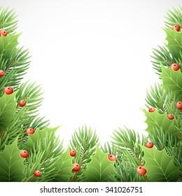 Christmas Tree Branches Border. Vector Illustration EPS10