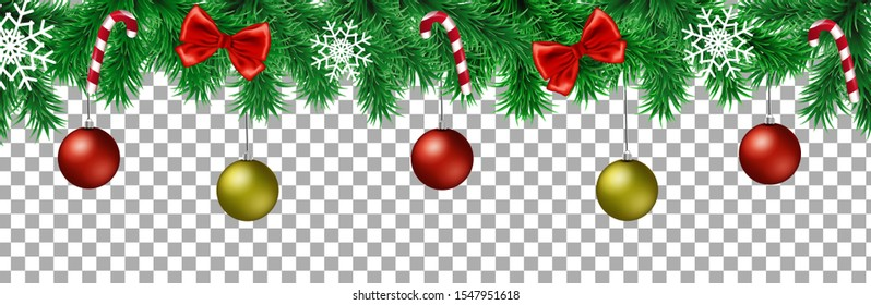 Christmas tree branches with decoration. Vector illustration.