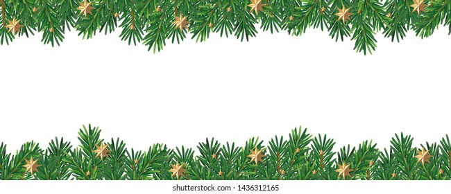 Christmas tree branches and gold stars banner on white background with place text space.