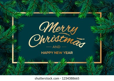 Christmas Tree Branches template. Merry Christmas and Happy New Year golden lettering with border frame, vector illustration.