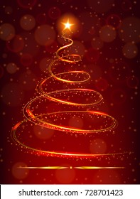 Christmas tree with bright star on red background illustration