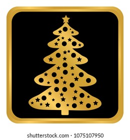 Christmas Tree button on white background. Vector illustration.