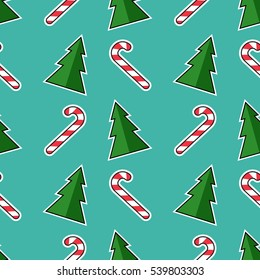 Christmas Tree Candy Vector Seamless Pattern