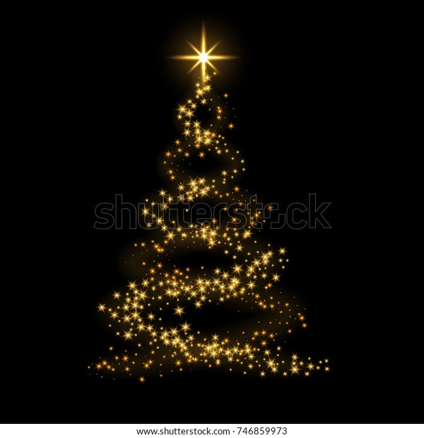 Christmas Tree Card Background Gold Christmas Stock Vector Royalty