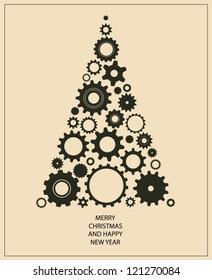 Christmas tree card made of gears