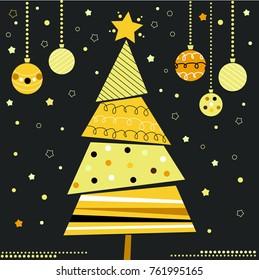Christmas tree card, christmas tree with ornaments