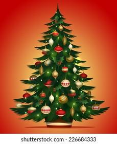 Christmas tree card \ poster \ banner. Vector illustration.