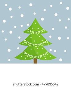 Christmas tree card. Vector illustration