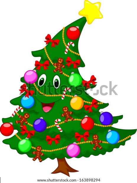 christmas tree cartoon character stock vector royalty free 163898294 https www shutterstock com image vector christmas tree cartoon character 163898294