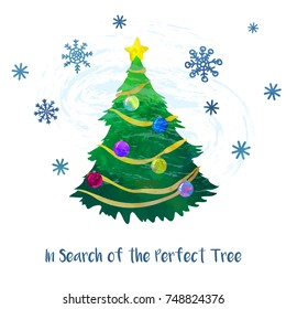 Christmas tree. Cartoon clip art illustration on isolated background. Watercolour imitation. Poster or postcard design.