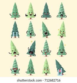 Christmas tree character emoji set. Funny cartoon emoticons