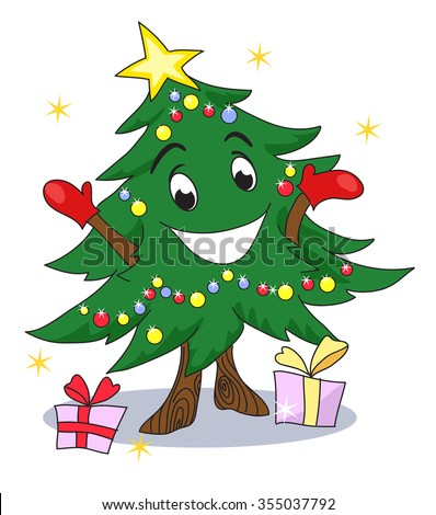 christmas tree character funny animated christmas tree gives you gifts cute christmas character - Animated Christmas Trees