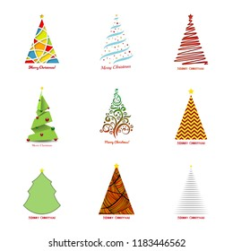 Christmas tree collection. Vector colorful Christmas tree illustrations for background, card, banner design.