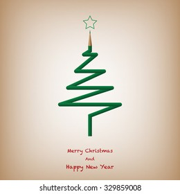 Christmas Tree From Color Pencil, Merry Christmas And Happy New Year Background. Vector Illustration