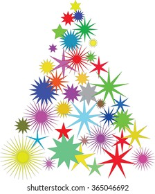 Christmas tree with colored stars- vector illustration