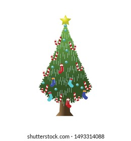 Christmas tree with colorful decorations, Merry Christmas