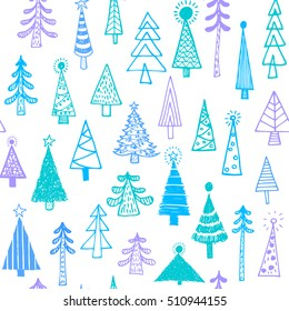 Christmas tree colorful green blue seamless pattern background spruce fir tree simple drawing