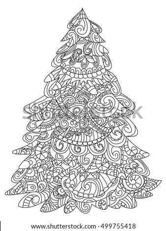 christmas tree coloring book vector illustration anti stress coloring for adult zentangle style