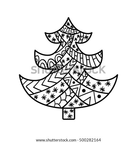 Christmas Tree Coloring Page High Details Stock Vector Royalty Free