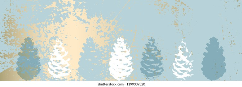 Christmas tree cone painting vector textures. Trendy Pastel blue white gold botanical winter pattern