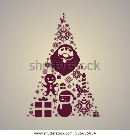 1aa95aa557 Christmas tree consists of Christmas items. Christmas. New year's day.  Santa Claus.