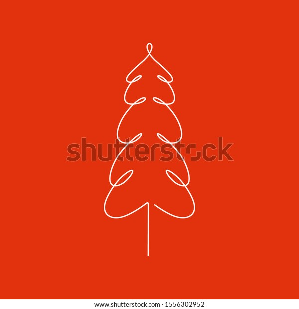Christmas tree continuous one line drawing minimalism vector illustration isolated on white background.