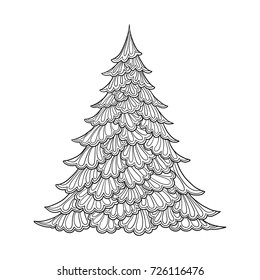 simple christmas coloring pages images stock photos vectors shutterstock https www shutterstock com image vector christmas tree contour drawing good coloring 726116476