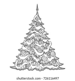 Christmas Tree Vector Coloring Pages Images Stock Photos