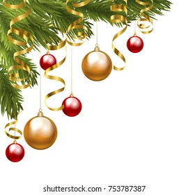 Christmas tree corner border with baubles and golden serpentine streamers isolated on white