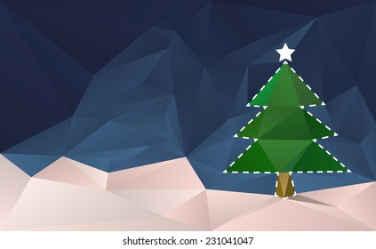 Christmas Tree Cut Out Card. Abstract christmas background with tree in the snow.