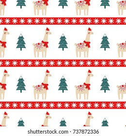 Christmas tree and cute lama with xmas hat seamless pattern. Vector xmas illustration for kids. Sweater style design for fabric, wallpaper, textile, wrapping paper and decor.