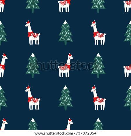christmas tree cute lama xmas hat のベクター画像素材 ロイヤリティ