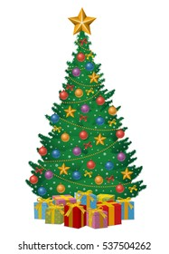 Christmas tree decorated by balls, stars, garlands, snowflakes, gift boxes isolated on white background. Vector illustration