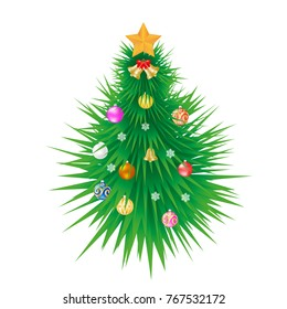 The Christmas tree is decorated with colorful balls, a golden star. Vector illustration.