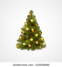 Christmas tree with decoration - balls, garlands. Vector Isolated on white.