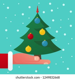 Christmas tree, decoration balls hold in hand Santa Claus. Christmas card, space for text, greetings, template. Merry Christmas, Happy New Year background. Vector illustration flat design.