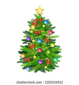 christmas tree and decoration cartoon version,vector illustration