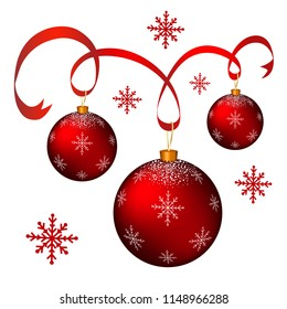 Christmas tree decorations.Red balls for decoration.Christmas and New Year.