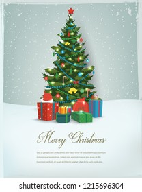 Christmas tree with decorations and gift boxes. Holiday background. Merry Christmas and Happy New Year. Vector illustration