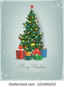 Albero di Natale con decorazioni e scatole regalo. Sfondo delle vacanze. Buon Natale e Felice Anno Nuovo. Illustrazione vettoriale